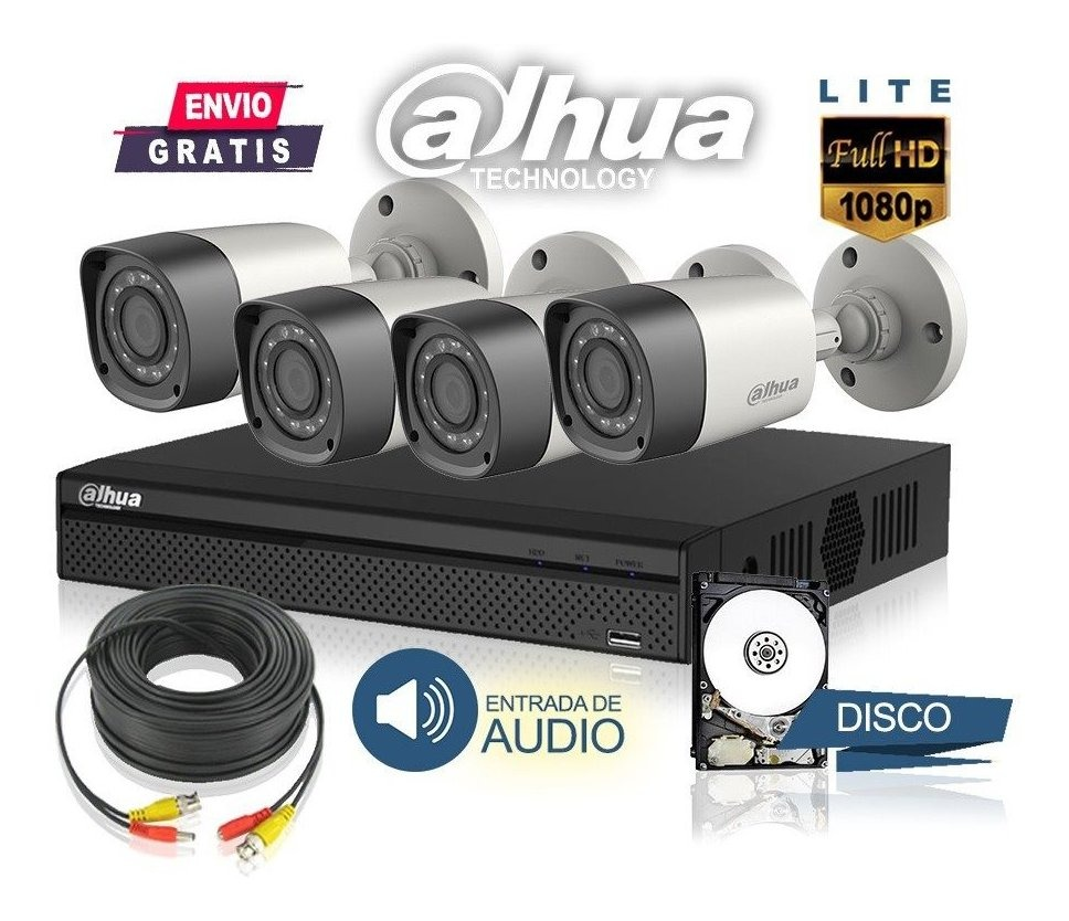 Kit Seguridad Dahua Full Hd Dvr 8 Ch + Disco 1 Tb + 4 Camaras Infrarrojas